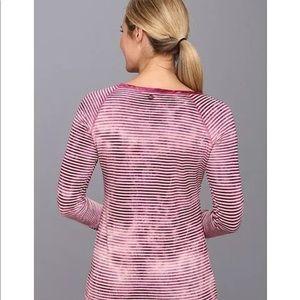 PrAna S $60 Zoe top yoga tie dye stripe pink shirt